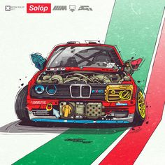 All work copyright © Artem Solop Vinyl For Cars, Jdm Wallpaper, Graffiti Pictures, Street Racing Cars, Car Illustration, Weird Cars, Ex Machina, Bmw E30, Futuristic Cars