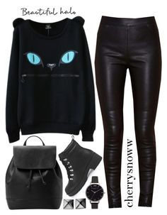 """""""All black emo outfit"""" by cherrysnoww ❤ liked on Polyvore featuring Boohoo, MANGO, Olivia Burton and Waterford"""