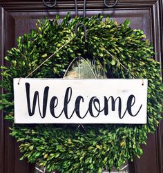 Welcome Sign Welcome Door Sign Door Sign by TheWoodGrainHome