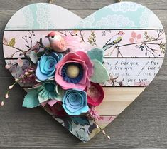 How sweet is this heart sign for the little sweet girl in your life? This sign is perfect for a baby shower gift or nursery decor for a modern little girl. Would even be lovely in a craft room! The sign is a wood pallet heart, adorned with a bird patterned paper. A pink feathered bird