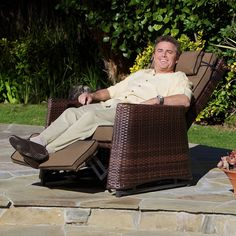 Christopher Knight Home Brown Wicker Outdoor Recliner Rocking Chair in Garden & Patio, Garden & Patio Furniture, Chairs | eBay