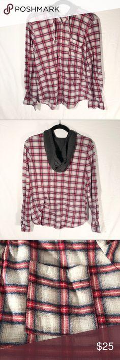4e89f1e5c4b Anthro Eden & Olivia Plaid Shirt W/ Hood Size Lg EUC. This plaid hoodie
