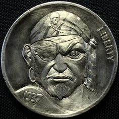 ALEX UZVIN HOBO NICKEL - PIRATE - 1937 BUFFALO NICKEL Custom Coins, Hobo Nickel, Coin Art, World Coins, Coin Jewelry, Us Coins, Coin Collecting, Art Forms, Metal Art