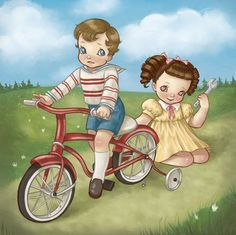 They rode their bikes so very slow She wanted more as they got close Unscrewed his training wheels to grow Into a two wheel bicycle: