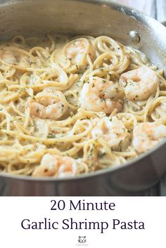 This 20 Minute Garlic Shrimp Pasta is a quick and easy weeknight meal for two! I usually have to make a double batch because all my friends love it so much!! Click through to my website to download your FREE pasta cookbook!