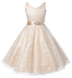1573bc9aadc DressForLess Lovely Lace V-Neck Flower Girl Dress