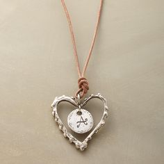 """PERSONALIZED LOVE NOTE NECKLACE -- A personalized love note to wear and cherish, crafted of leather and sterling silver, and inscribed with the initial of your choice. Handmade. By Jes MaHarry. Sterling silver clasp. 18""""L."""
