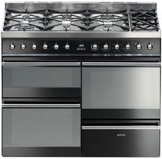 """Smeg """"Symphony"""" Dual fuel 4 cavity Cooker with Gas hob and warming zone - Black Dual Fuel Range Cookers, Oven Top, Small Oven, Small Kitchen Appliances, Cavities, Sweet Home, Warm, Cooking, Ovens"""