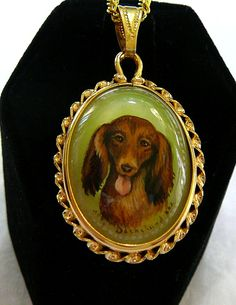 Hand Painted Dachshund Dog Cameo Pendant Mother Of Pearl Shell 14k Gold Fill Fancy Setting Collectible Fine Art Ladies Jewelry Gift