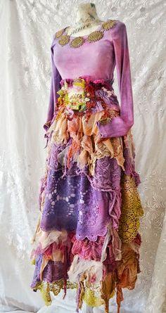 Dress,upcycled ,Bohemian Gypsy Victorian Gothic Shabby Chic Boho Hippy Ruffle ,fairy dress Spring Forest