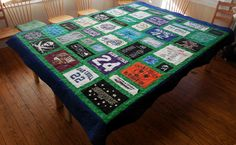 Just in time for St. Patrick's Day, here's a fun Custom T-Shirt Quilt with  lots of gorgeous green shirts and sashing.