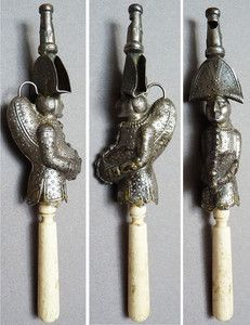 French 19th century whistle, silver and ivory  Child's