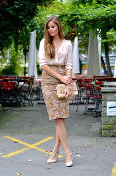 wrap blouse with pencil skirt