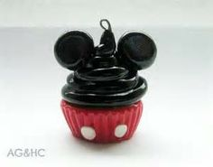 polymer clay micky mouse cupcake charm