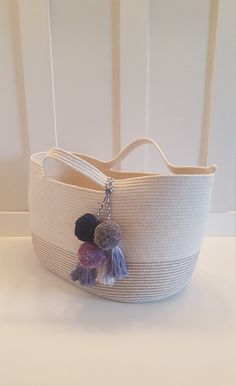 Oval Rope Basket/Tote with Handles and by PrairieStMercantile