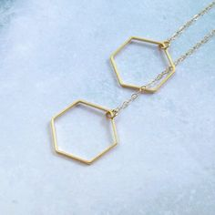 Gold Hexagon Necklace Geometric Necklace by SterlingSimplicity