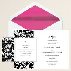 Decorative Damask Wedding Invitation (available in other colors) | #exclusivelyweddings | #blackandwhitewedding