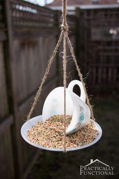 DIY Ideas | Turn a teacup and saucer into a pretty bird feeder for your yard!