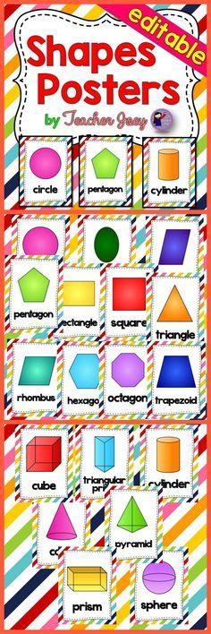 Shapes : Shapes : Shapes Rainbow Diagonal Stripes Background Shapes Posters Flashcards  This shapes poster set is designed with rainbow diagonal stripes background which includes 2D and 3D shapes.  I included a PowerPoint file of all the shapes in which you may type in your own text. This is perfect if you teach a language other than English.  You may print multiple cards on one sheet to make flashcards.