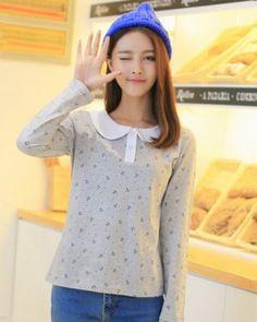 Womens peter pan collar shirt lovely gray long sleeve t shirt plus size
