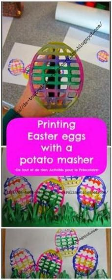 Printing Easter eggs with a potato masher! How fun?! See if I can find a dollar store one...