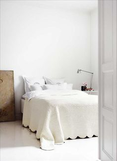 Spare, beautiful neutral bedroom via Skona Hem
