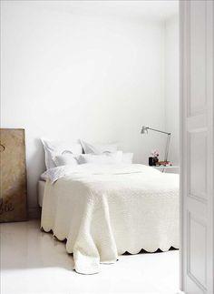 Spare, beautiful neutral bedroom via Skona Hem