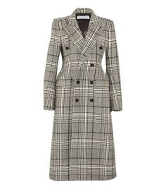Best online fashion stores: Balenciaga Hourglass Double-Breasted Checked Wool-Blend Coat