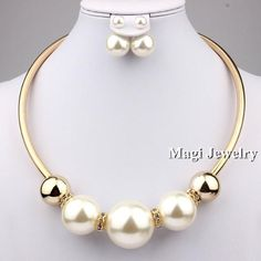 VIVILADY Fashion Imitation Pearl Jewelry Sets Women Wedding Collar Necklace Earrings African Bridal Bijoux Party Mother Gift