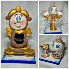 Polymer Clay Disney, Polymer Clay Figures, Polymer Clay Charms, Polymer Clay Creations, Beauty And Beast Birthday, Beauty And The Beast Party, Beauty Beast, Deco Harry Potter, Belle Cake