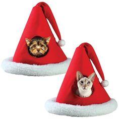 (Set of 2) Santa Christmas Holiday Hat Pet Bed Xmas for Puppy Dog Kitty Cat « Delay Gifts