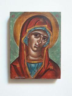 Παναγία, By Aggeliki Papadomanolaki I Icon, Christian Art, Byzantine, Mona Lisa, Portrait, Artwork, Work Of Art, Catholic Art, Headshot Photography
