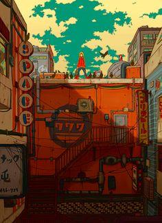 The Art Of Animation — Garsuke Pixel Art, Bg Design, Arte Cyberpunk, Animation Background, Anime Scenery, 2d Art, Environmental Art, Grafik Design, Art Plastique