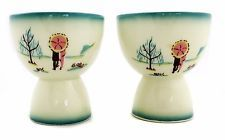 Delightful Vintage Ceramic Sake Cups In Charming Asian Theme (Set of Two)