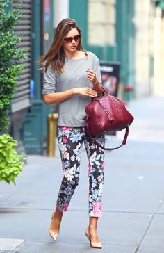 grey/red/florals outfit