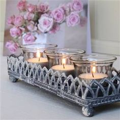 Filigree Tea Light Tray   Bliss and Bloom Ltd