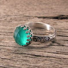 Hey, I found this really awesome Etsy listing at https://www.etsy.com/listing/177480642/green-onyx-ring-on-a-patterned-sterling