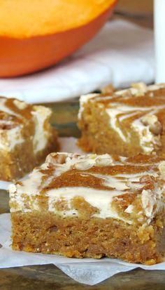 Cheesecake Swirled Pumpkin Roll Bars | @yummyaddiction