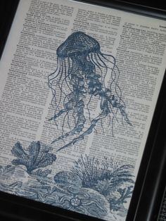 We love these art prtints on repurposed pages! #sheelysfurniture #etsy Sea Life Art Print Ocean Art Print Dictionary Art Print Jelly Fish Art Print Upcycled Wall Art A HHP Original Design 8 x 10 Blue. $8.00, via Etsy.