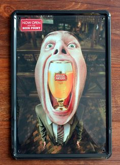 A Big Mouth Beer Painting Tin plate signs Bar pub home Restaurant Wall decor vintage Poster metal paintings YJ62 20x30cm