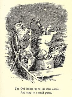 """""""Illustration for Edward Lear's The Owl & The Pussycat by William Foster, 1889"""" (The Fatal Bellman)"""