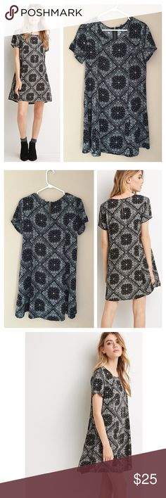 "Paisley diamond print shift dress Black and white diamond shape paisley print shift dress. Has short sleeves and back exposed zipper. Unlined. Rayon. Bust 36"", length 34"". ❌no trades Forever 21 Dresses"