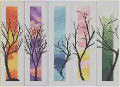 Cinque alberi  contato Cross Stitch Pattern di HornswoggleStore