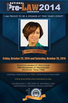 Meet Terea Turner, Esq., Assistant Director of Admissions and Financial Aid, Northern Illinois University College of Law (DeKalb, Illinois), at the 10th Annual National Black Pre-Law Conference and Law Fair 2014 on Friday, October 24, 2014 and Saturday, October 25, 2014 at the Houston Marriott Westchase in Houston, Texas.   Free of charge! Everyone is welcome! Register today! www.blackprelawconference.org/ #blackprelawconference #lawyerssupportingfuturelawyers