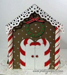 This Is the House that Cindy Built - Mary Fish, Stampin' Pretty . Christmas Crafts For Kids To Make, Toddler Christmas, Christmas Time, Christmas Cards, Holiday, Christmas Classroom Door, Office Christmas Decorations, Chocolate Navidad, Gingerbread House Template