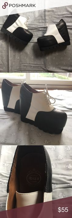 "Jeffrey Campbell Creeper Platform Frankenstein These are beautiful and I hate to let them go but they deserve to live life and not sit on display in my closet. EXTREMELY TALL +7"" but still very comfortable. One little scuff on the toe is pictured. Leather. Size 8. Give them a forever home! Jeffrey Campbell Shoes Platforms"