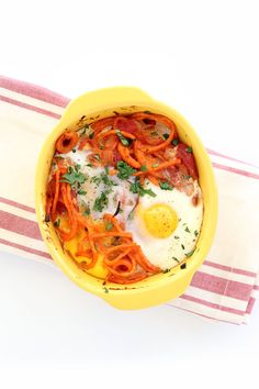 Baked Spanish Eggs and Sweet Potato Noodle Bowls
