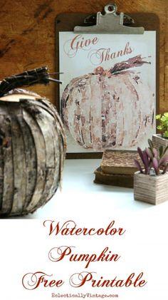 Watercolor pumpkin free fall printable
