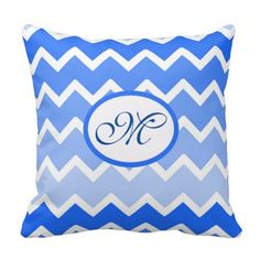 Personalized Monogram Blue Ombre Chevron Pillow for baby boy nursery shower gift #decampstudios
