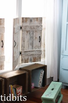 tidbits: A Little Big Girl Bedroom.  love the shutters and they are handmade